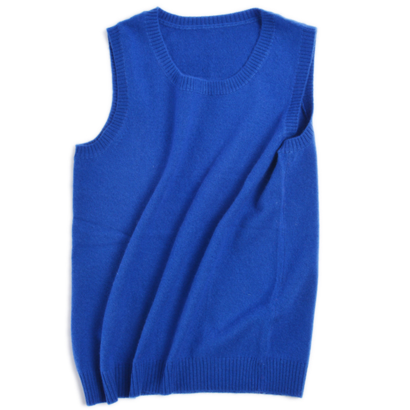 New round neck pure cashmere vest with suspender for womens pullover with waistcoat on the inside and loose shoulders on the outside in autumn and winter