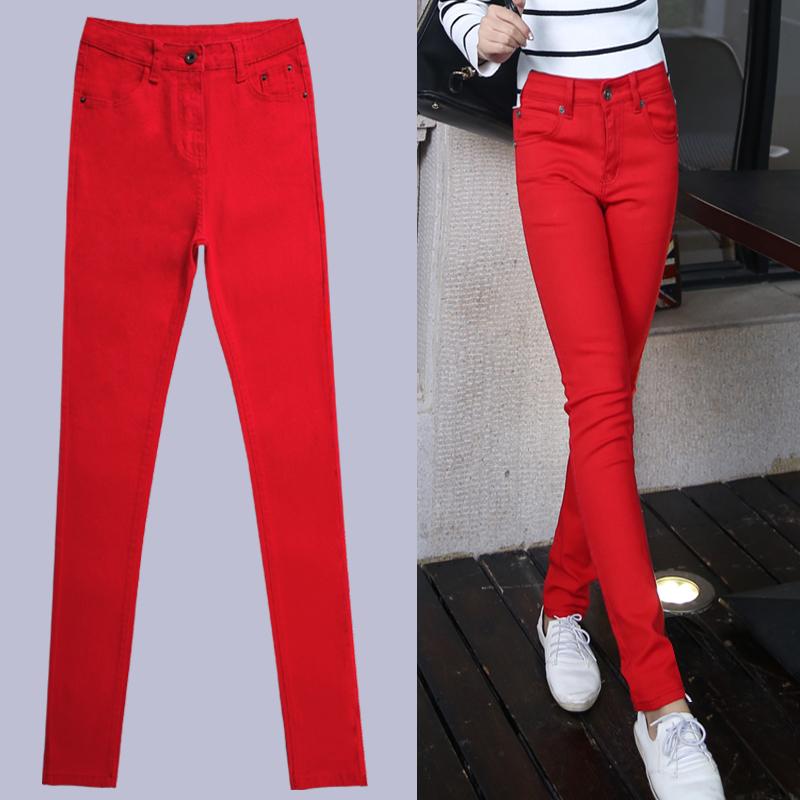 红色高腰秋冬修身显瘦小脚牛仔裤