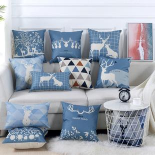 北欧鹿飘窗抱枕布艺亚麻靠垫沙发腰靠背办公室腰枕套含芯长条靠枕