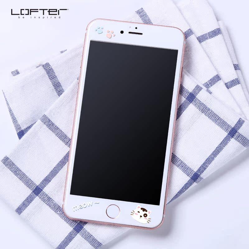 洛夫特 蘋果6plus鋼化膜彩膜全屏覆蓋iphone6s貼膜前可愛卡通浮雕