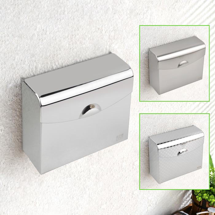 加厚包邊廁所紙巾盒方紙盒不鏽鋼衛生間廁紙盒免打孔防水紙巾架草