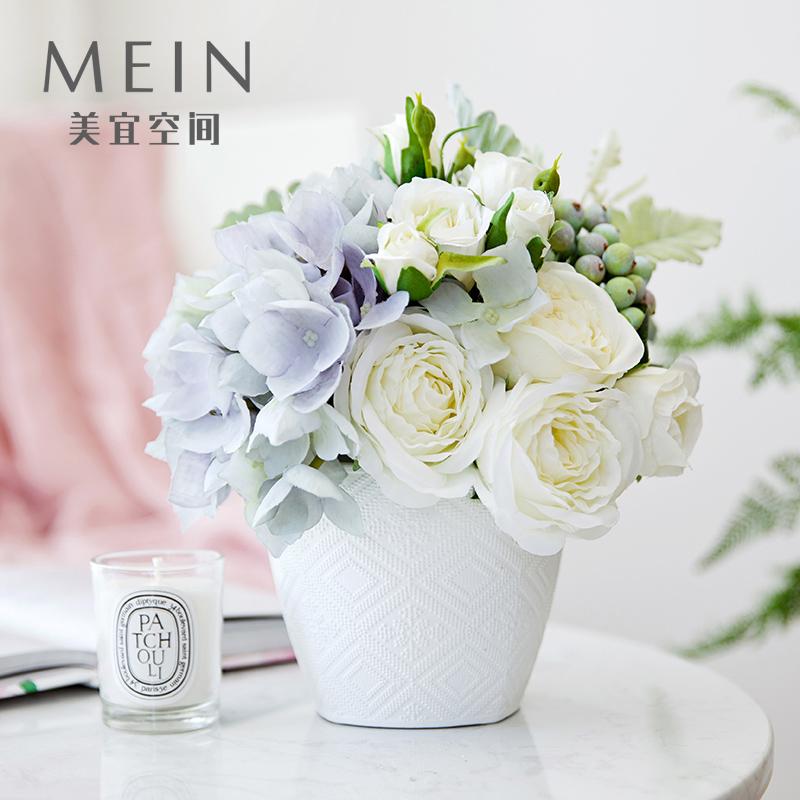 北欧玫瑰花仿真花花艺套装假花客厅卧室餐桌花摆花束干花家居摆件