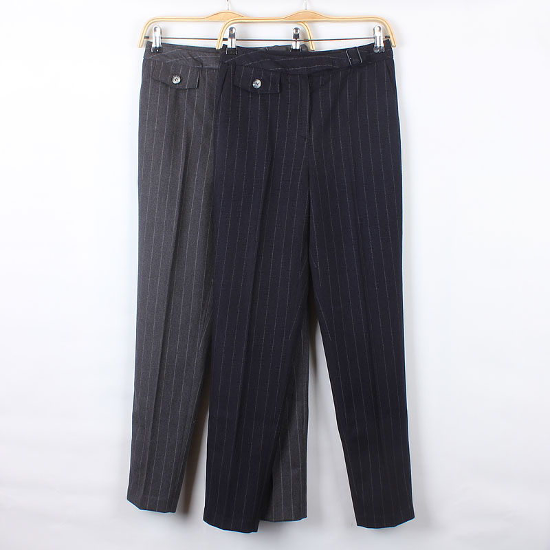 2019 winter new woolen striped womens trousers high grade fabric trousers slim fitting suit small foot pencil pants