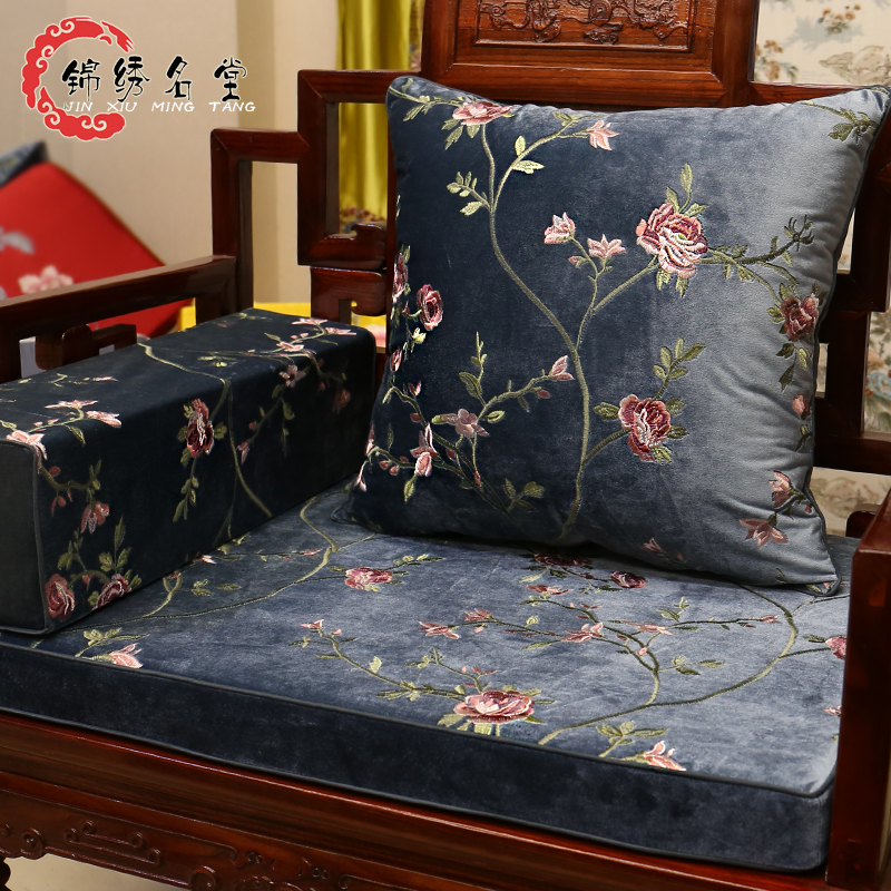 中式红木沙发坐垫实木家具垫定制绒布刺绣罗汉床垫子五件套中国风