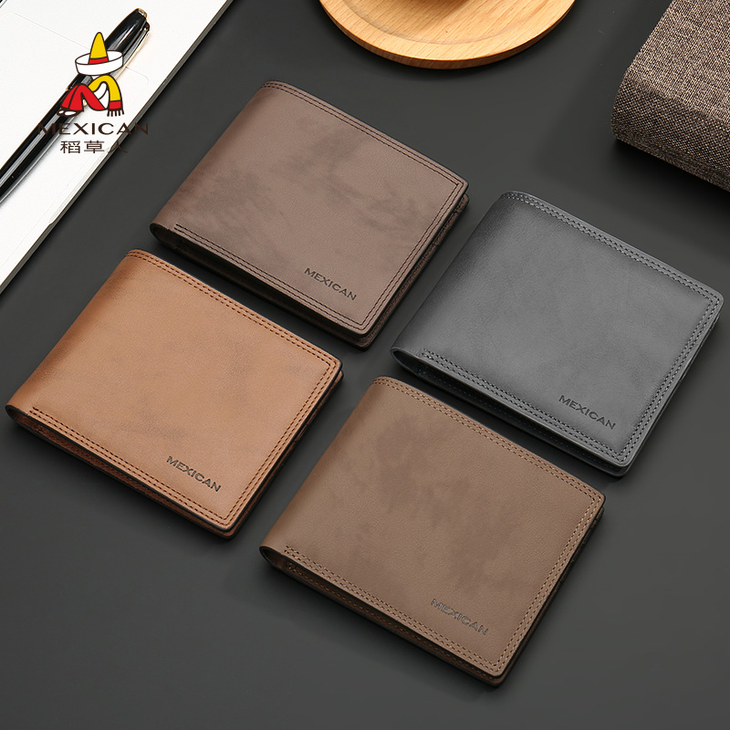 Scarecrow man wallet 2020 new large capacity soft leather business ticket clip trend genuine leather short Wallet