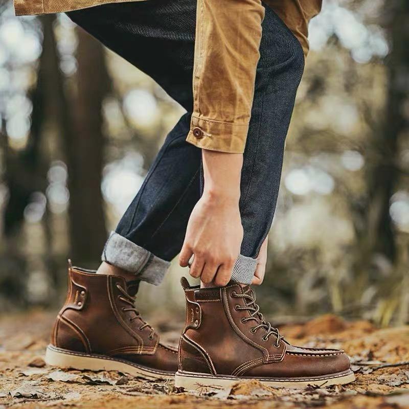阿美咔叽马丁靴男工装短靴子男鞋