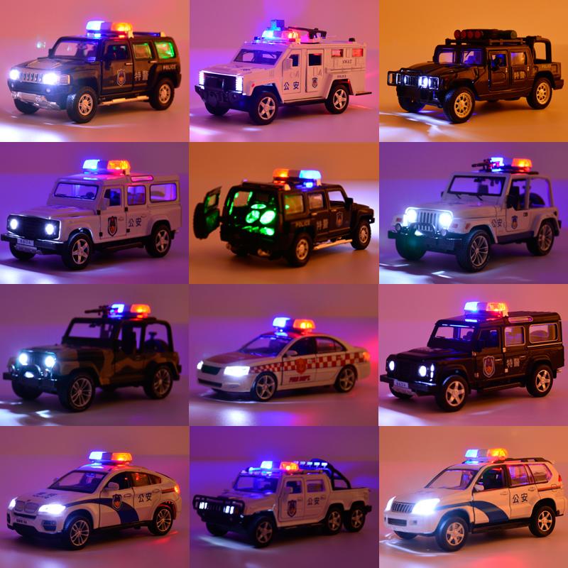 警车儿童玩具回力合金车模仿真救护车男孩警察车玩具车小汽车模型