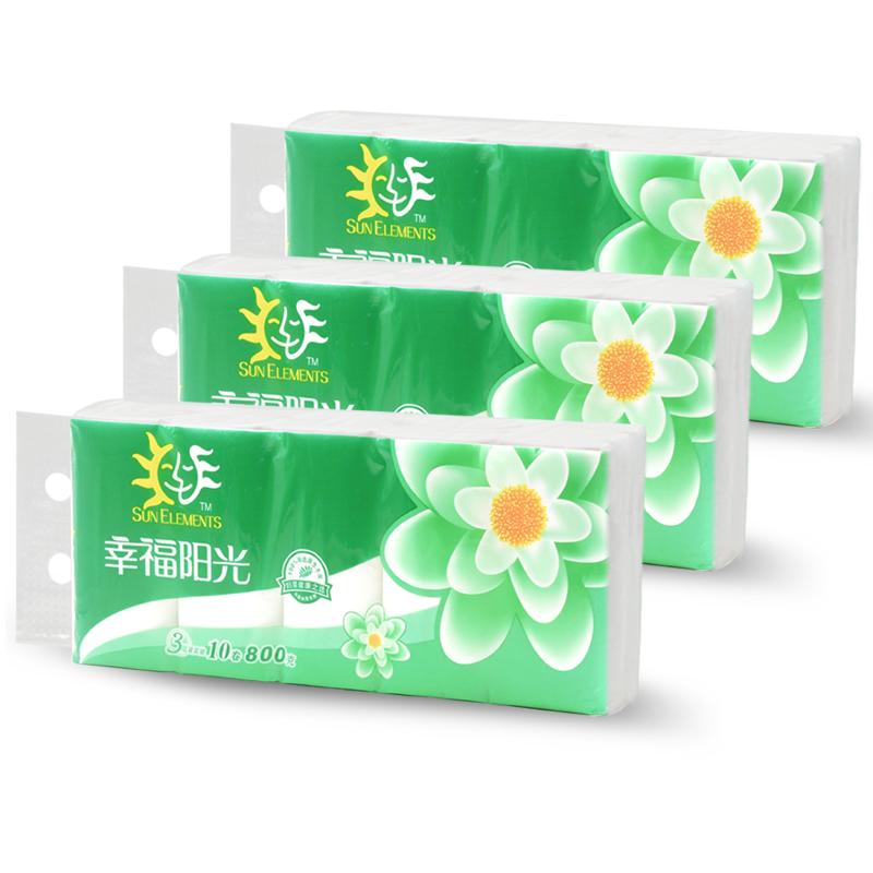 ~天貓超市~幸福陽光太陽花3層80克30卷無芯卷紙衛生紙巾