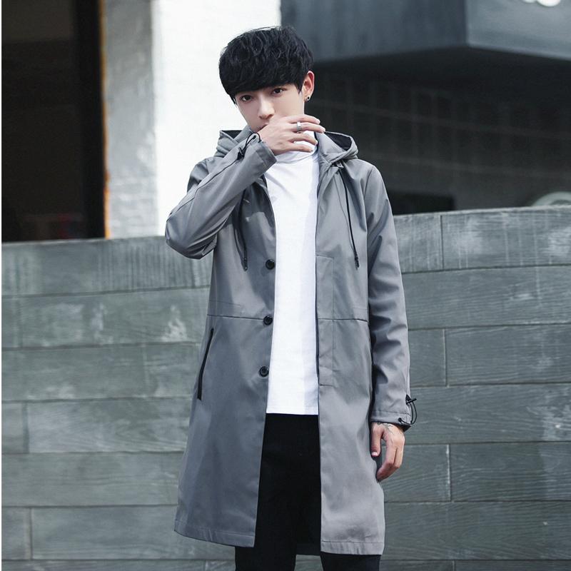 风衣男中长款韩版潮流帅气学生英伦披风男工装大衣男士外套春秋潮