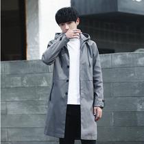 連帽帆布外套男oversize自制韓版軍綠色工裝中長款風衣男BANGBOY