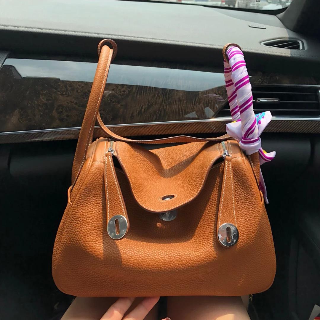 2020 head leather litchi pattern Lindi bag Doctor Bag Leather Womens bag one shoulder handbag medicine box bag womens bag