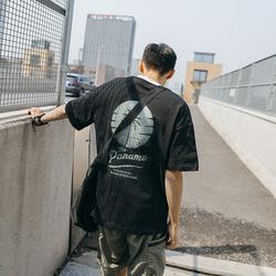 夏日美式休闲男士T恤 潮流落肩袖后背印花短袖宽松男生圆领半袖潮
