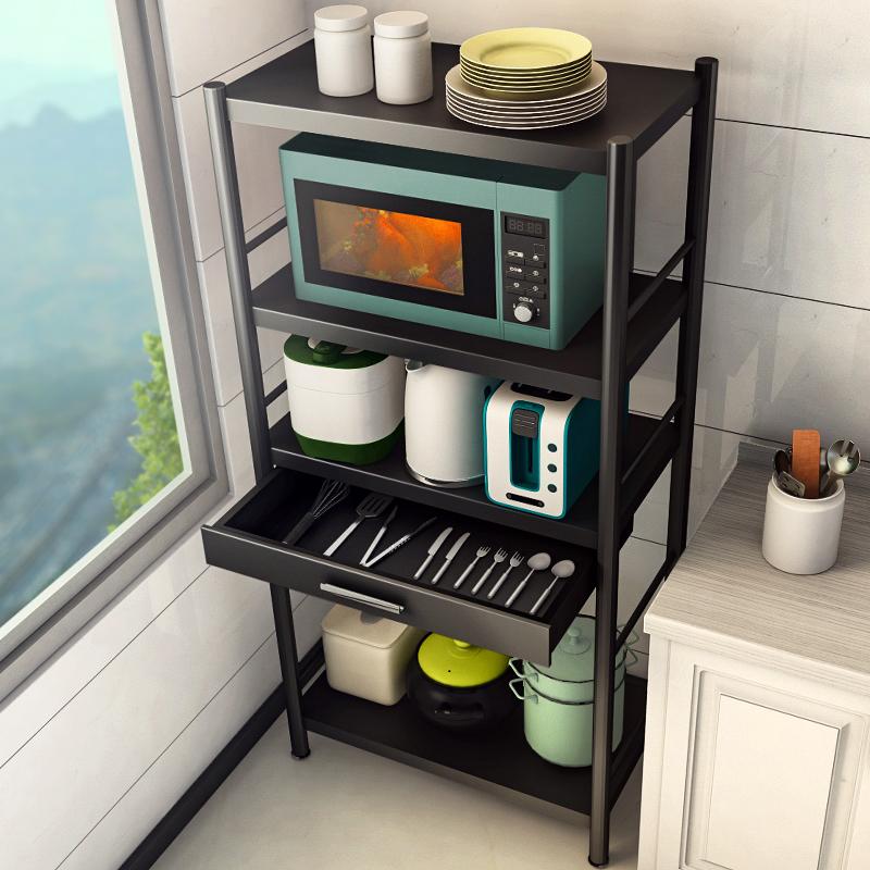 黑色厨房落地多层家用放烤箱锅架子