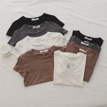免邮!短袖T恤女白色冰丝体恤莫代尔 纯色短袖T恤 圆领/V领