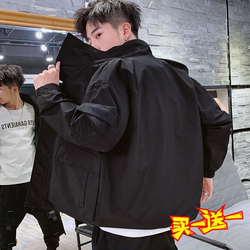 男士外套秋季2019新款韓版潮流棒球上衣服學生百搭連帽工裝夾克