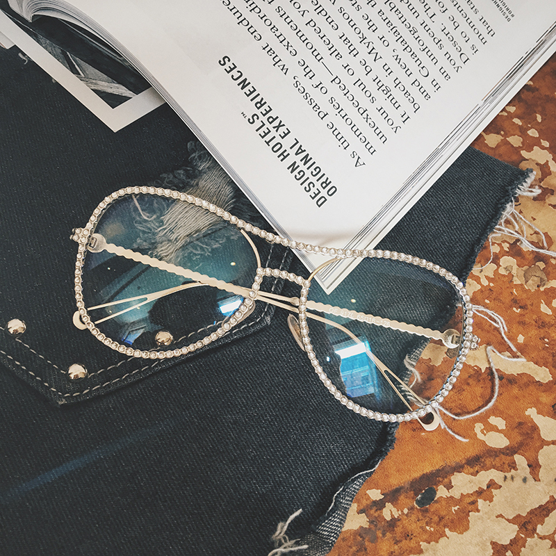 Big brand design star net red ruthless Zhao ruthless snake with exquisite Rhinestone spectacle frame flat transparent lens sunglasses