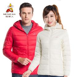 稻草人羽绒服男女超轻短款冬季连帽超轻户外羽绒衣保暖运动外套