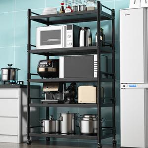 厨房不锈钢置物架落地式多层微波炉架子收纳架放锅烤箱可移动带轮