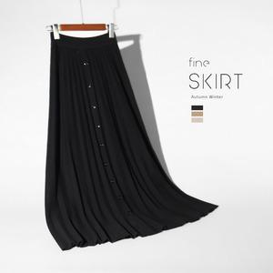 前排纽扣半身裙女春秋冬天穿的裙子半截长裙a字百褶裙针织下身群