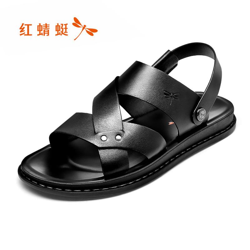 红蜻蜓男鞋夏季新款纯色真皮凉鞋沙滩鞋舒适露趾凉拖两用透气鞋