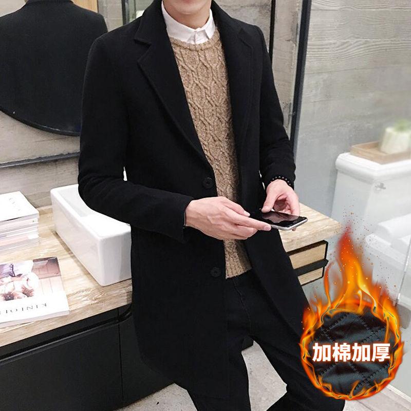 秋冬男装加厚毛呢大衣韩版呢料外套修身风衣男中长款青年学生披风
