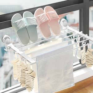 窗户晾衣架窗台晾鞋架晒鞋架免打孔可折叠小型室内阳台内衣晾晒架