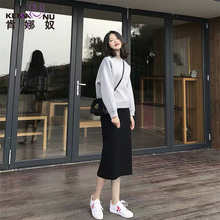 Pregnant women's skirt in spring and autumn 2019 new fashion women's skirt in the middle and long style half skirt supporting abdomen
