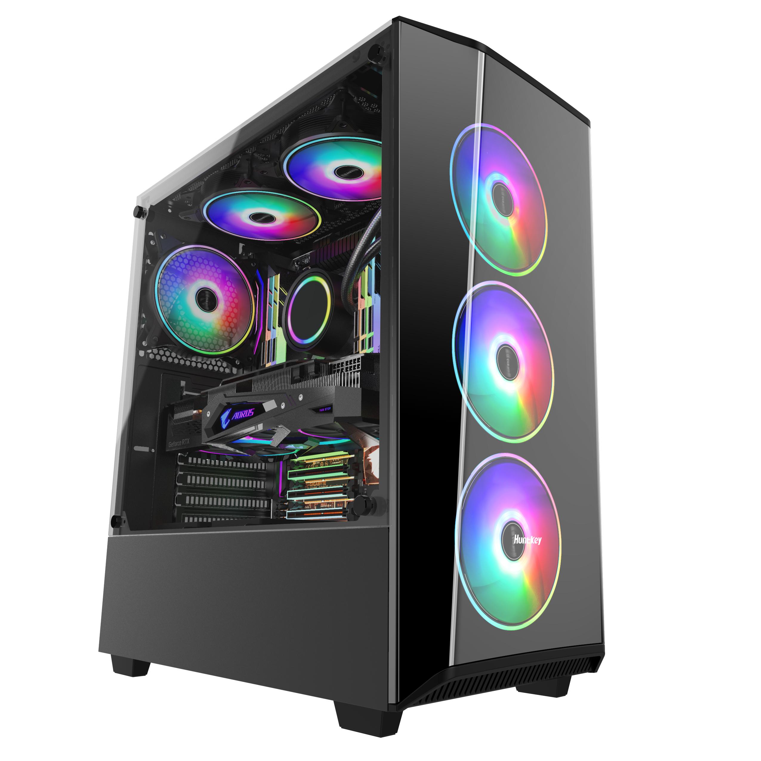 航嘉 GX580U 台式主机电脑机箱游戏水冷ATX大板玻璃侧透机箱背线