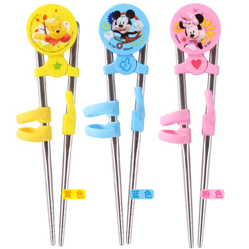 迪士尼兒童筷子卡通不鏽鋼學習筷寶寶嬰童訓練矯正筷子小孩子餐具