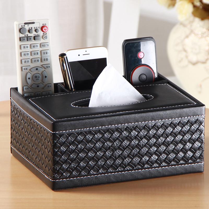 创意纸巾盒抽纸盒茶几客厅遥控器收纳盒家用餐巾纸抽盒简约可爱皮