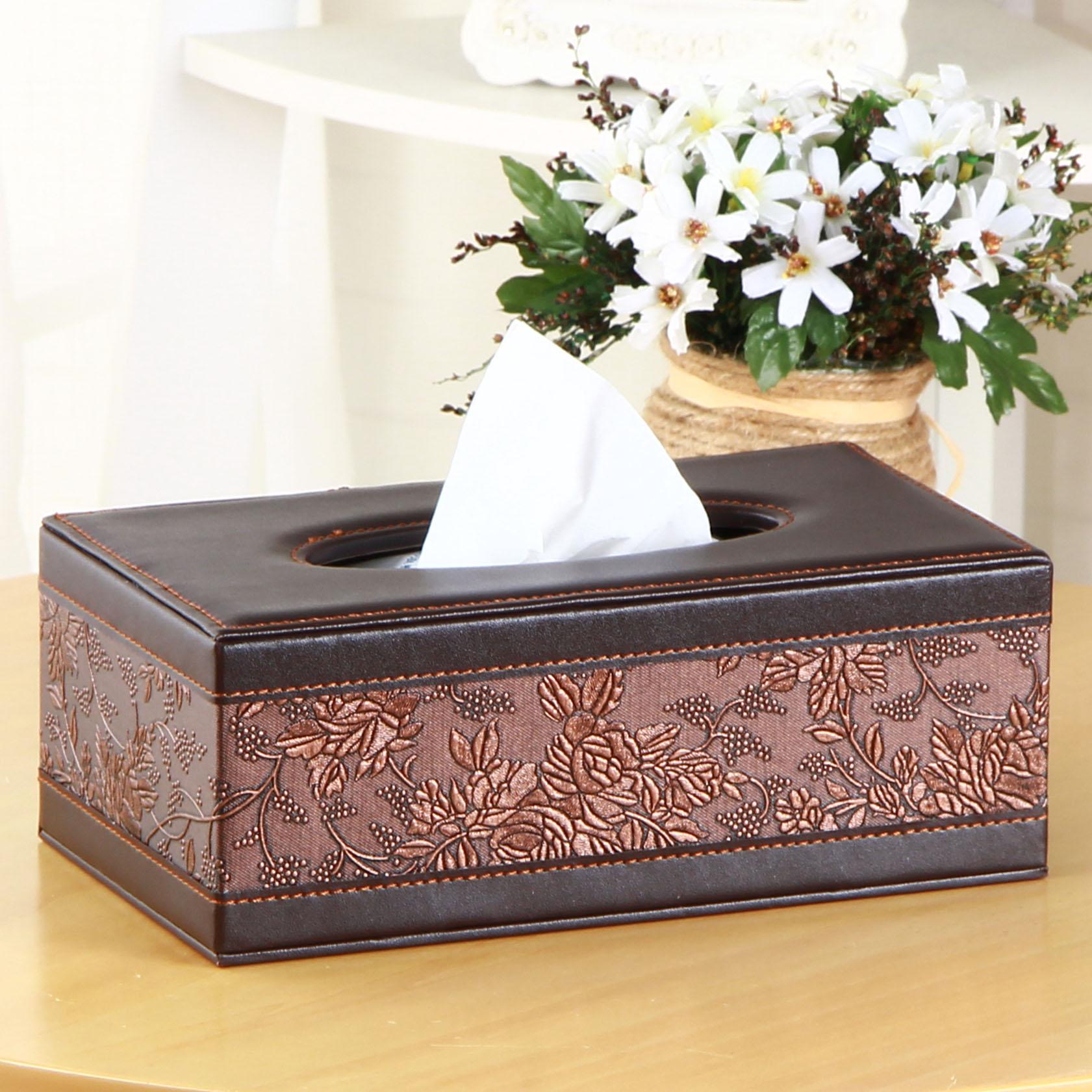 雅皮仕 簡約皮革家用紙巾盒 餐巾抽紙盒 紙抽盒田園風木質車用