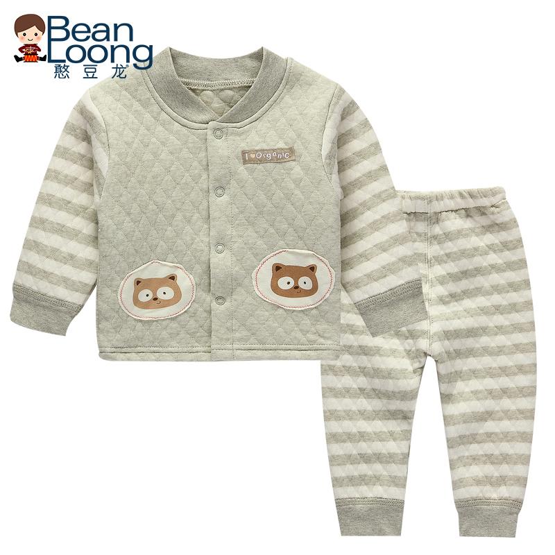 憨豆龍嬰兒彩棉內衣套裝寶寶純棉保暖套裝新生兒衣服夾棉居家服冬
