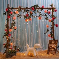 婚庆背景装饰花架婚礼布置树桩木架结婚花门户外草坪森系木桩拱门