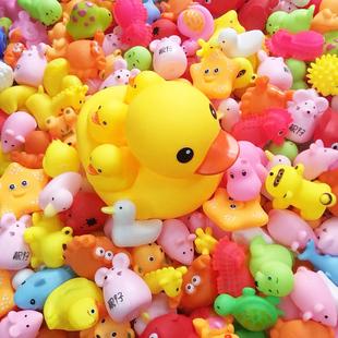 抖音婴儿小鸭子玩具宝宝戏水洗澡玩具儿童小黄鸭子捏捏叫游泳套装
