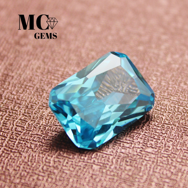 Package Aquamarine rectangular chamfered rectangular fancy cut radion ring with bare stone surface, pure and transparent