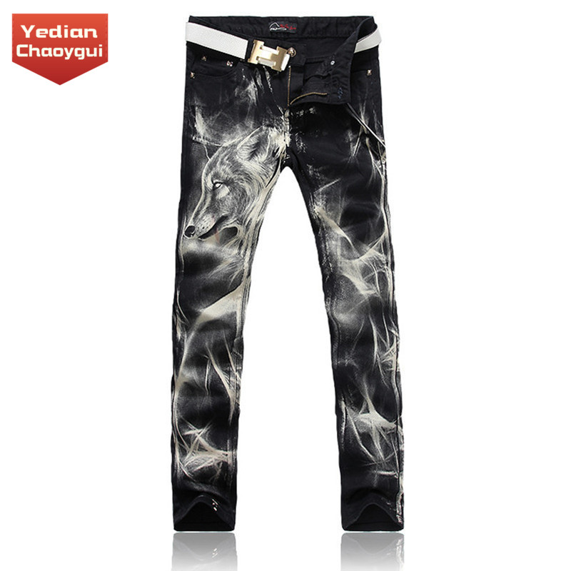 Mens Korean spring and summer print pattern wolf head pattern cool pants trend SLIM STRAIGHT casual jeans