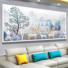 Diamond Painting Full Drill Living Room 5D Elk Bedroom Brick and Stone Painting Spot Drill Cross Embroidery 2019 New Diamond Embroidery