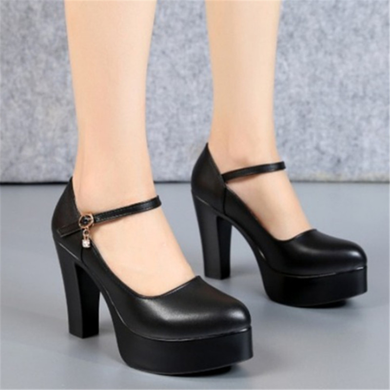 One button thick heel high heel waterproof platform large size comfortable model cheongsam show shoes pointed professional womens single shoes