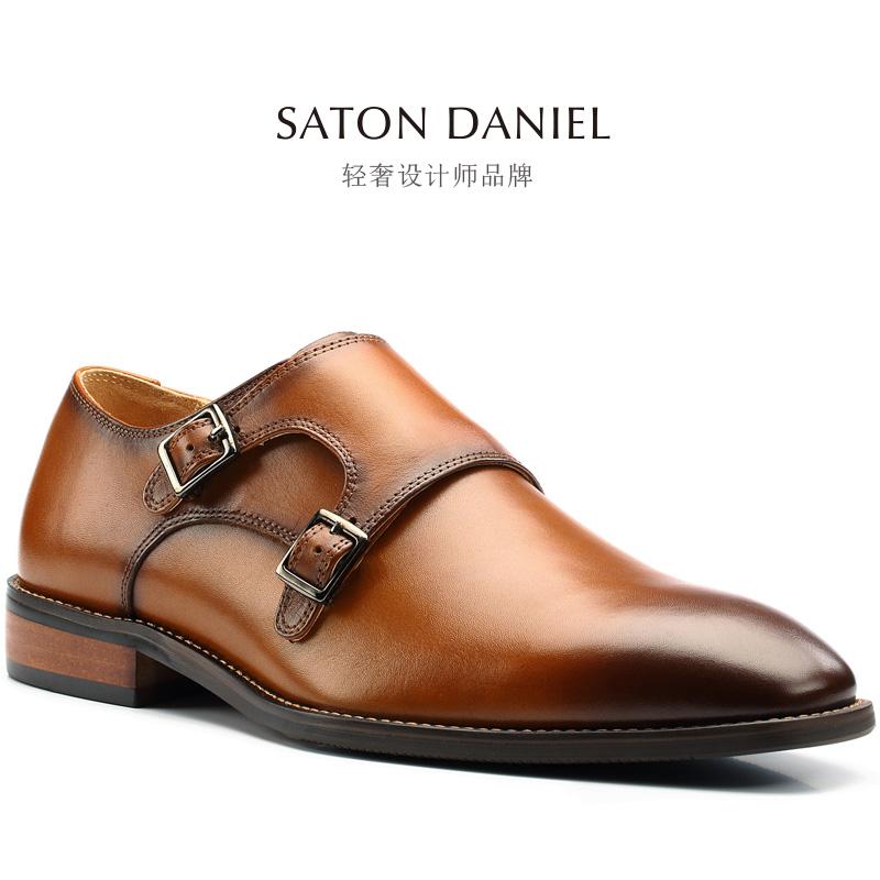 Monk英伦孟克鞋尖头真皮鞋搭扣套脚僧侣男鞋子36Men35小码37Shoes