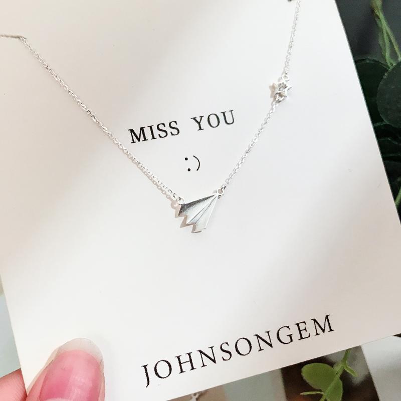 [johnsongem旗舰店项链]JG记忆纸飞机项链925纯银个性项链月销量184件仅售77元
