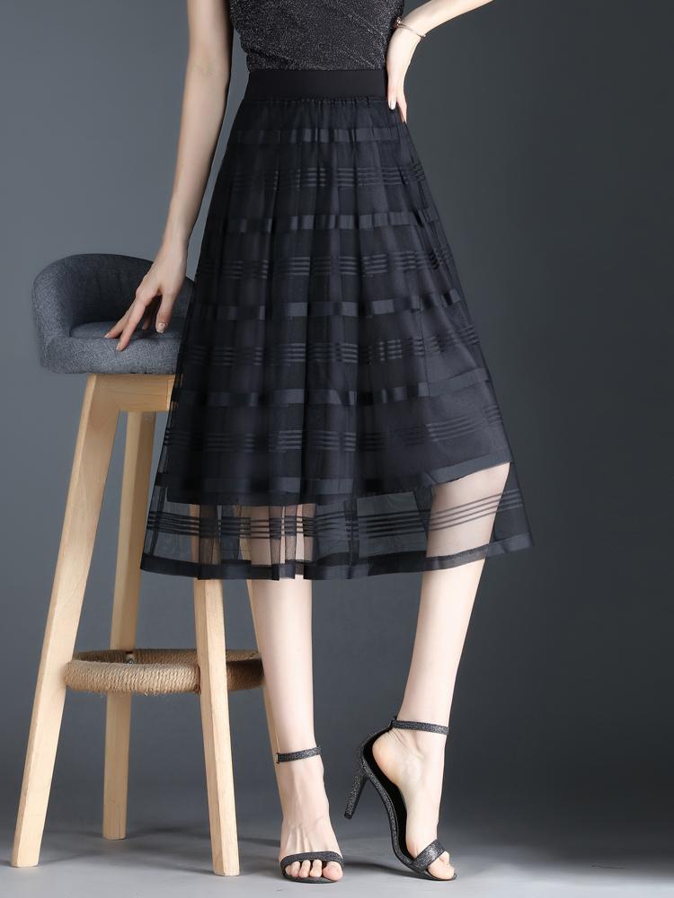 Pleated skirt A-line mesh 2021 spring and summer new swing sun medium length Black Lace high waist skirt