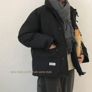 W几物冬季 日系复古原宿口袋工装 加厚立领棉衣外套男女情侣棉袄