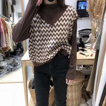HQY 针织马甲背心女2019新款秋季宽松V领学院风外穿毛衣两件套装