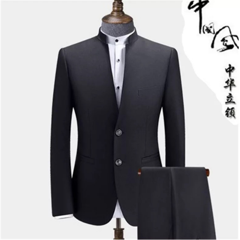 Chinese style bridegroom wedding dress standing collar suit leisure business suit