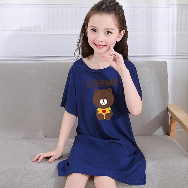 Modal girls nightdress short sleeve summer childrens pajamas long skirt pure cotton girls baby thin half sleeve skirt summer