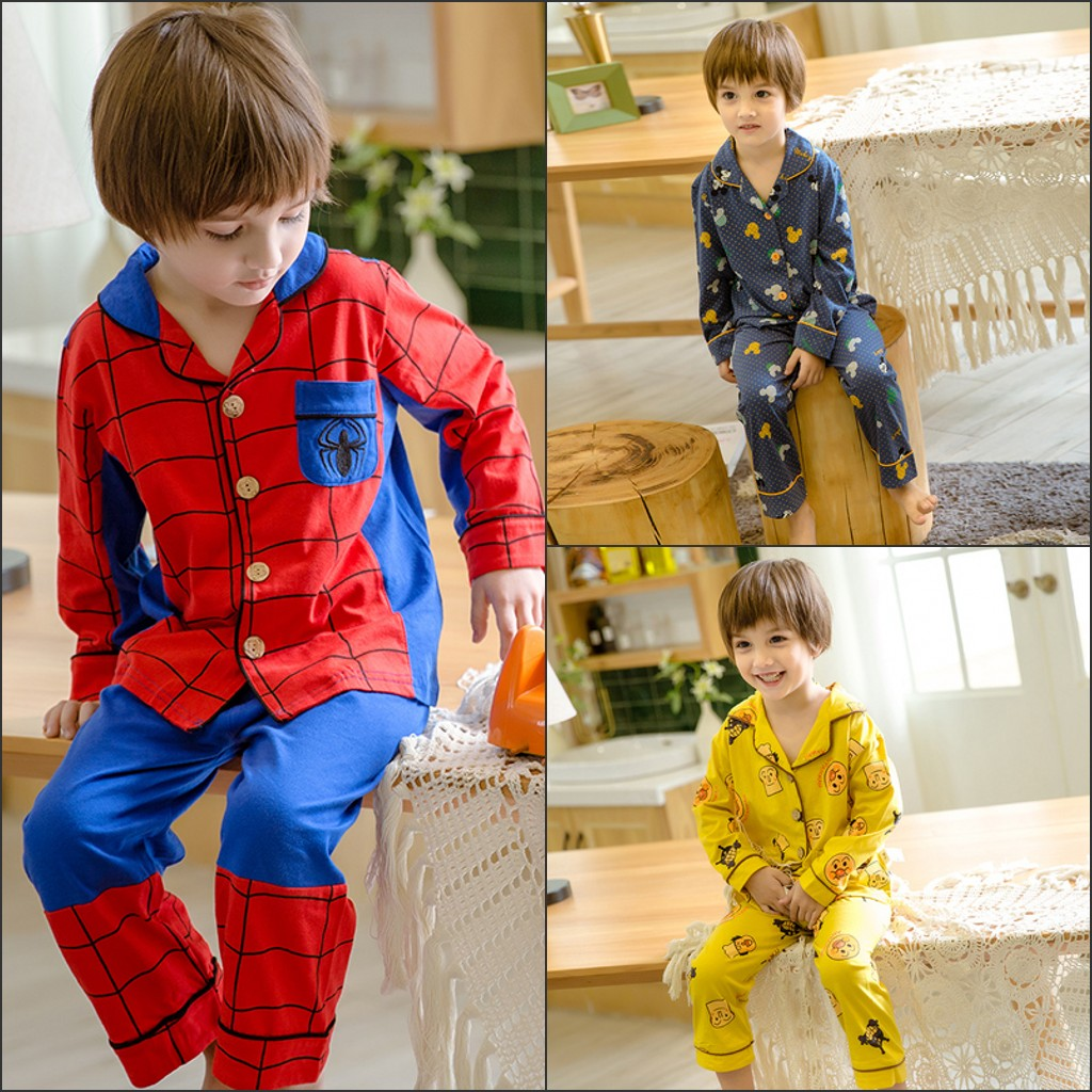 Childrens pajamas boy spring and autumn thin home clothes pure cotton spider man long sleeve suit little boy air conditioning suit cotton