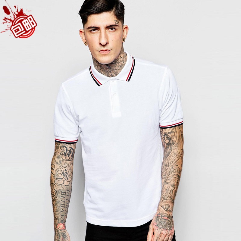 New mens T-shirt Polo fashion laurel ear short sleeve pearl cotton polo top