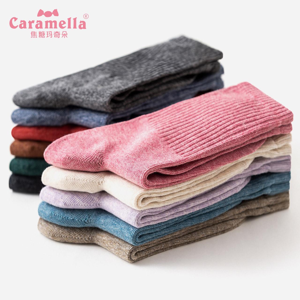 CARAMELLA长袜子女春秋冬中筒纯棉韩版学院风百搭潮个性薄堆堆袜