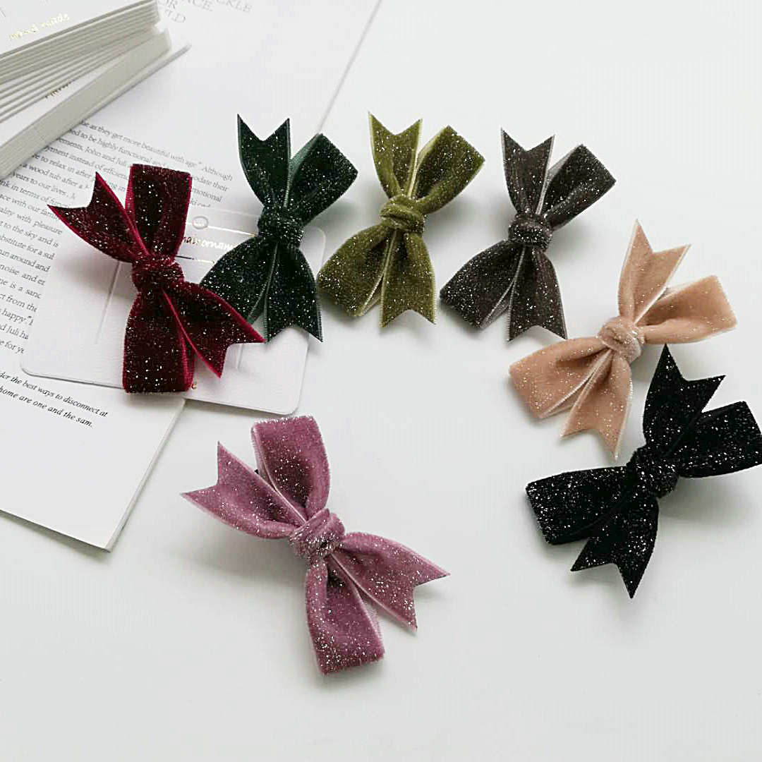 Sheila silver velvet bow hand made hairpin black apricot childrens bow girls hairpin