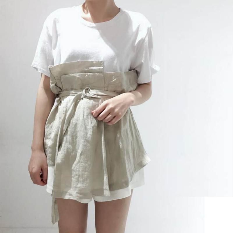 jxzx原创设计韩版2018夏季圆领宽松收腰拼接T恤